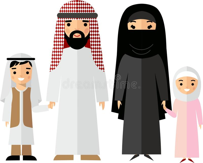 Vector colorful illustration of arab family in national clothes stock illustration