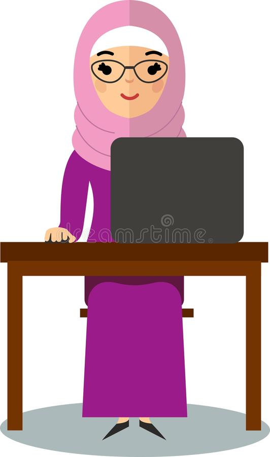 Vector colorful illustration of arab pupil in national clothes vector illustration