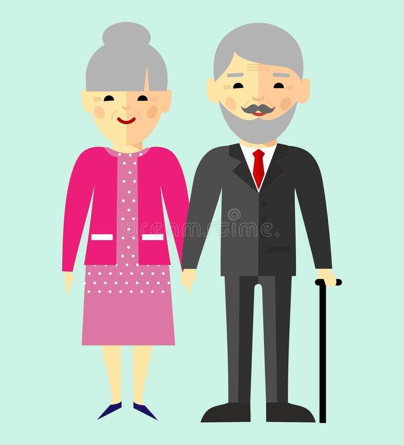 Vector colorful illustration of asian, chinese, japanese old pensioner family vector illustration