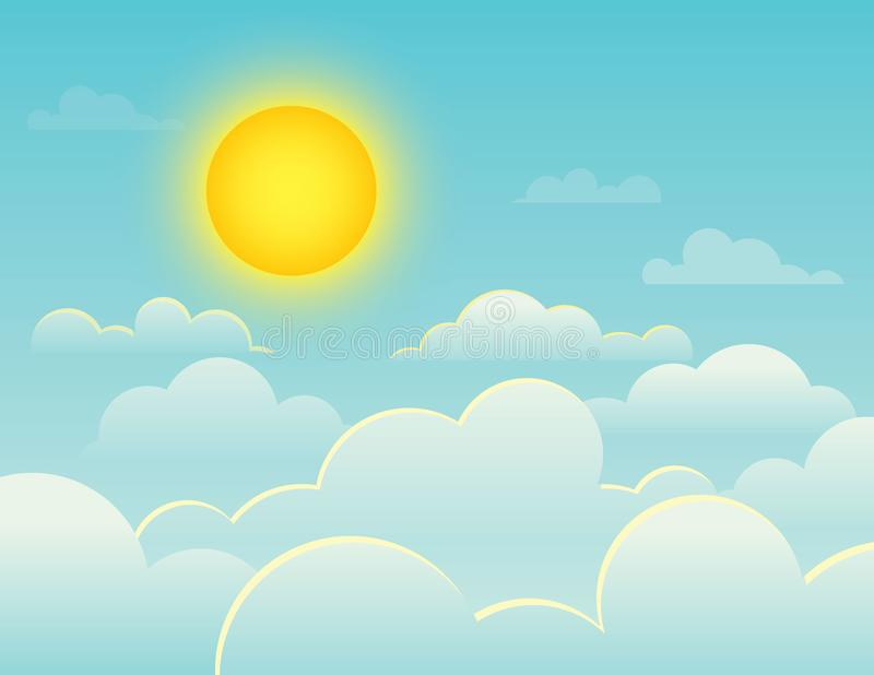 Vector colorful illustration of a bright full sun on a background of a blue sky vector illustration