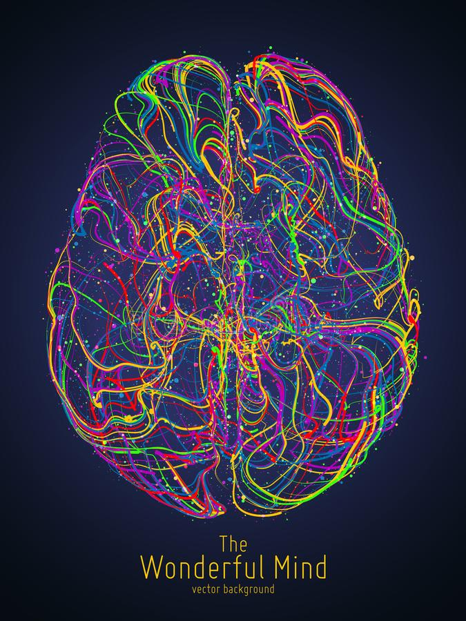 Vector colorful illustration of human brain with synapses. Conceptual image of idea birth, creative imagination or. Artificial intelligence. Net of lines forms stock illustration