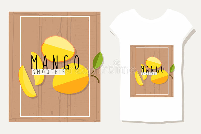 Vector colorful illustration of mango slices in flat for Table flat design