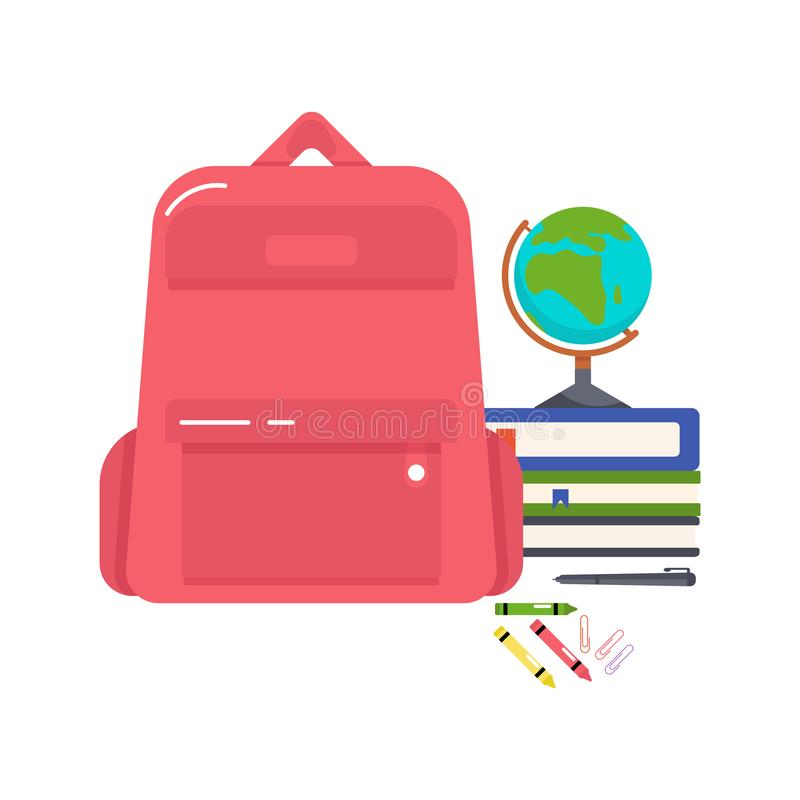 Vector colorful illustration of a school backpack, books, globe, crayons, pen and paper clips on a white background. royalty free illustration