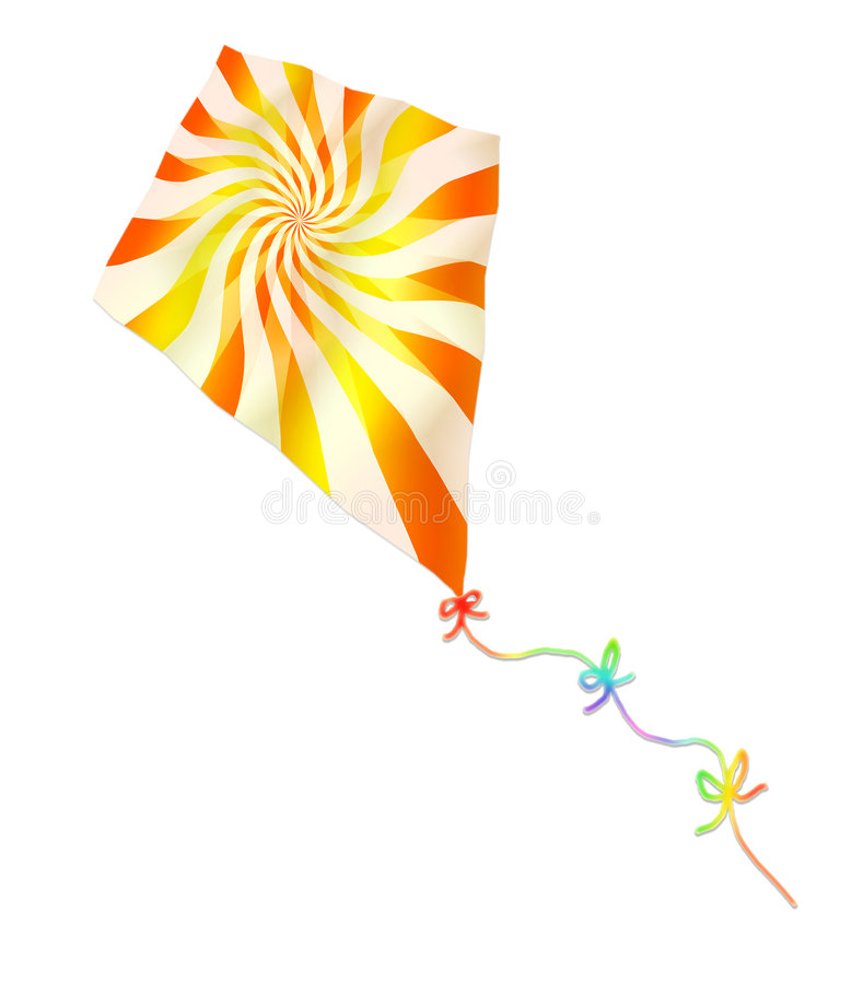 Vector Colorful Kite. Illustration of a flying kite with a twirling orange and yellow design and a colorful tail with ribbons. Vector also royalty free illustration