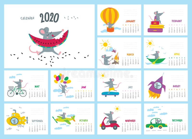 Vector colorful monthly calendar with a cute rat - a Chinese symbol of the 2020 year royalty free illustration