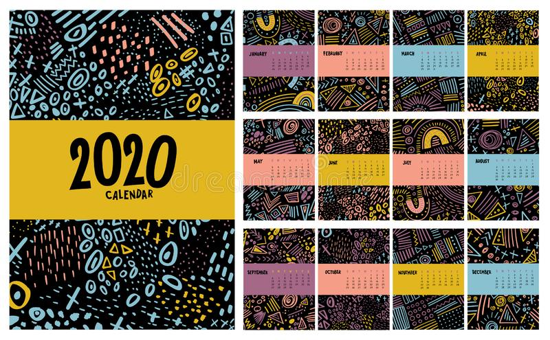 Vector colorful monthly calendar for 2020 year with abstract marker doodle stock illustration