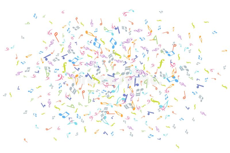 Vector colorful music notations background element in flat style.  royalty free illustration