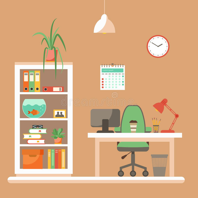 Vector colorful office desk closeup concept. Flat work interior design elements table, computer, lamp, books. Working concept of office desk closeup. Flat vector illustration