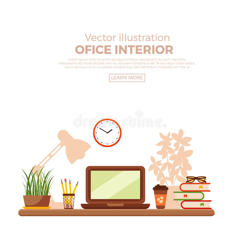 Vector colorful office desk closeup. Concept. Flat work interior design elements table, laptop, lamp and books royalty free illustration