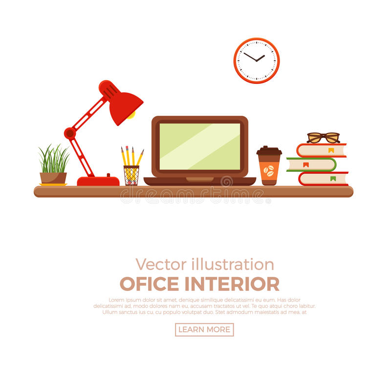 Vector colorful office desk closeup. Concept. Flat work interior design elements table, laptop, lamp and books stock illustration