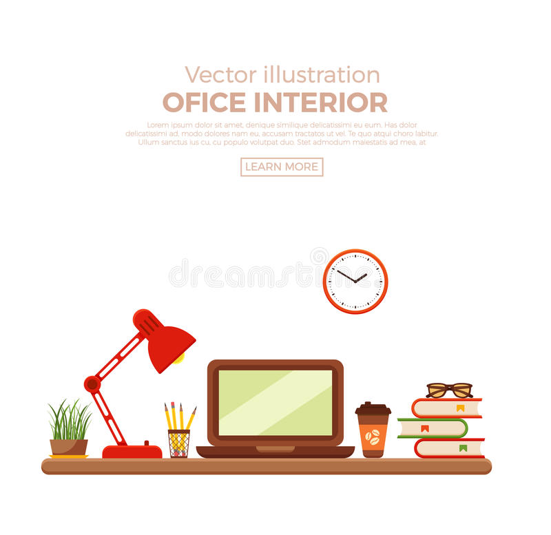 Vector colorful office desk closeup. Concept. Flat work interior design elements table, laptop, lamp and books vector illustration