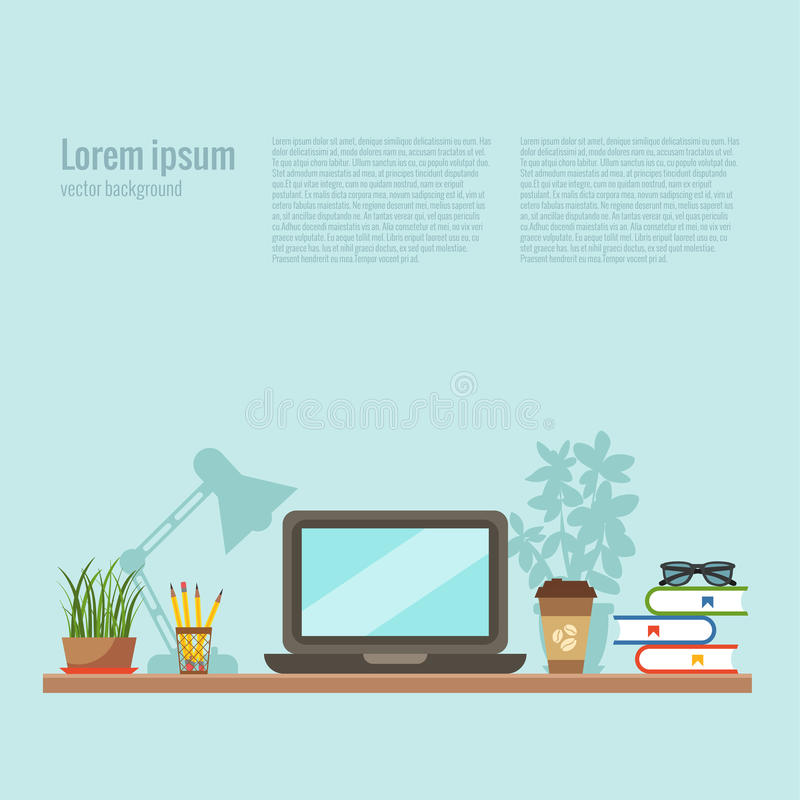 Vector colorful office desk closeup concept. Flat work interior design elements: table, laptop, lamp, books. Working concept of office desk closeup. Flat style royalty free illustration