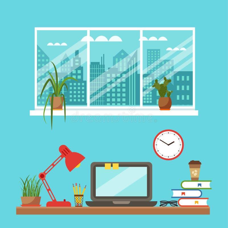 Vector colorful office desk closeup concept. Flat work interior design elements: table, laptop, lamp, books. Working concept of office desk closeup. Flat style vector illustration