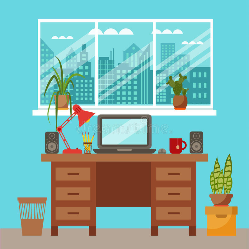 Vector colorful office desk closeup concept. Flat work interior design elements table, laptop, lamp, books. Working concept of office desk close up. Flat style royalty free illustration