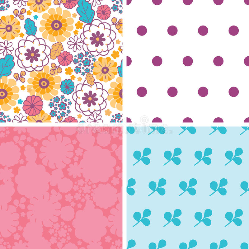 Vector colorful oriental flowers set of four royalty free illustration