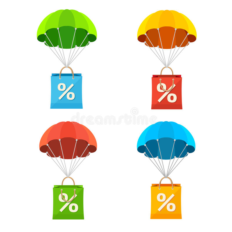 Vector colorful parachute with paper bag sale icon. Vector illustration colorful parachute with paper bag sale icon set vector illustration