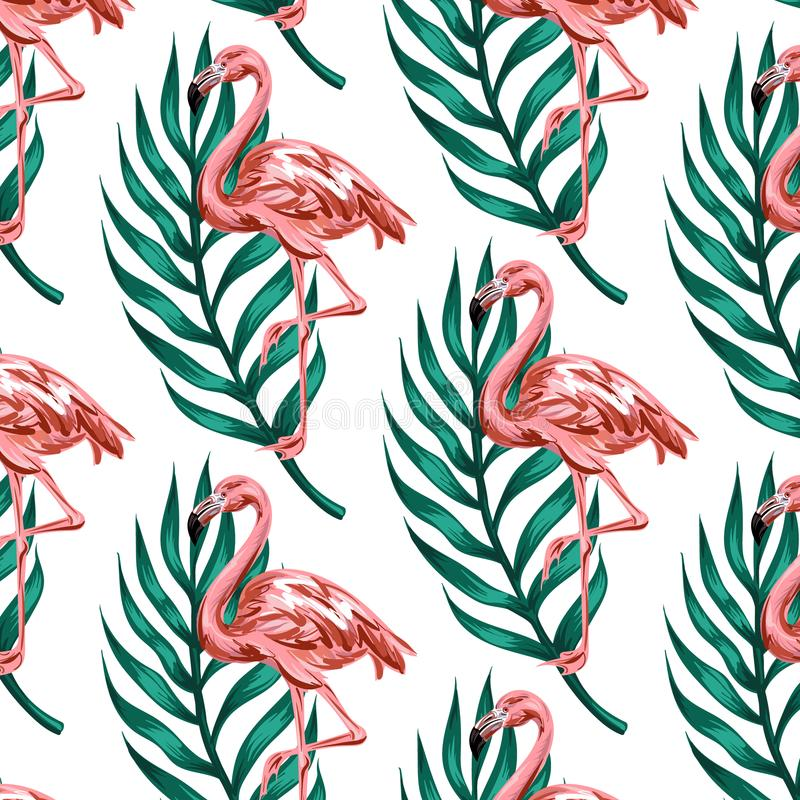 Vector colorful pattern with hand drawn illustration of flamingo with palm leaves. stock illustration