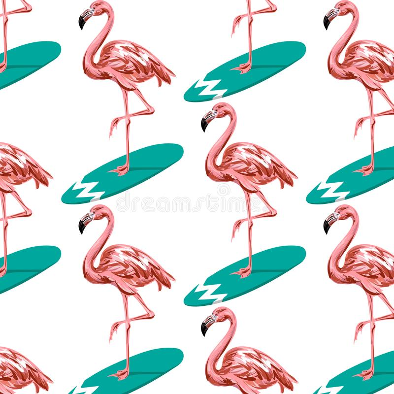 Vector colorful pattern with hand drawn illustration of flamingo on surfboard. vector illustration