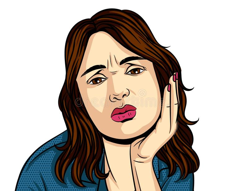 Vector colorful pop art comic style illustration of woman have teeth pain. The face of the unhappy girls with a hand near her cheek royalty free illustration