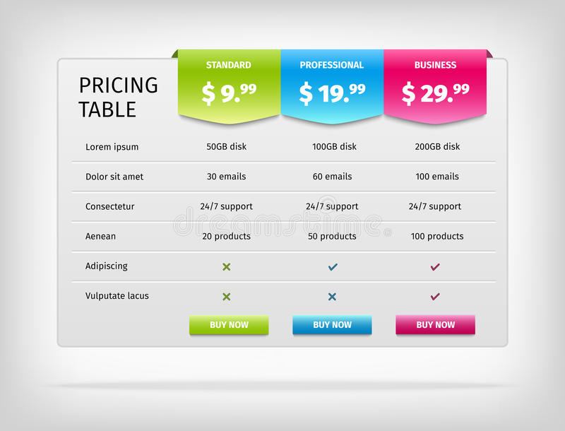 Vector Colorful Pricing Table Template For Stock Vector