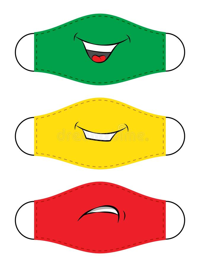 Vector colorful protective face mask smiling set. Vector colorful protective face mask isolated set on white background. Smiley mood design. Funny smiling royalty free illustration