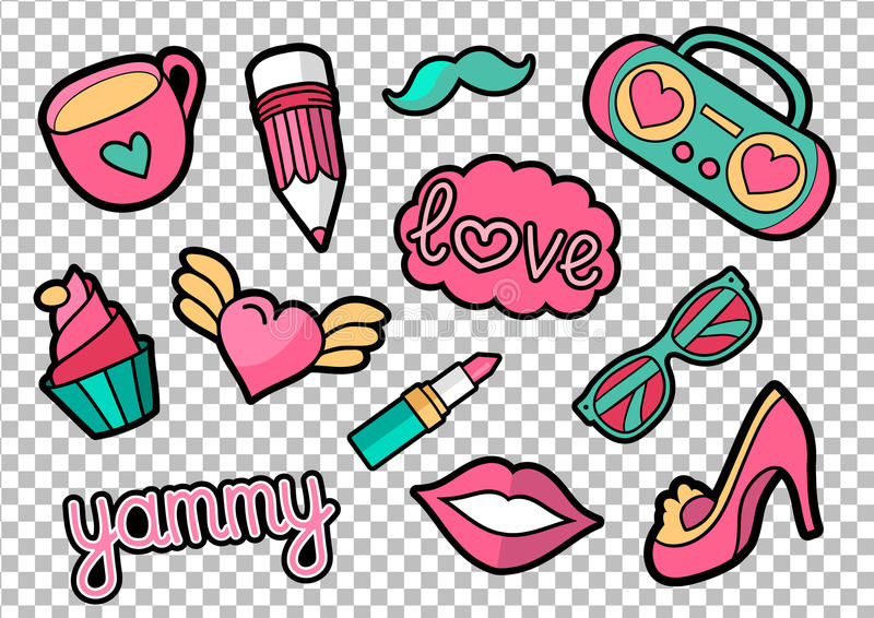 Vector colorful quirky patches set. Pin trendy decoration labels for denim and textile. Vintage hippie style badges. Vector colorful quirky patches collection royalty free illustration