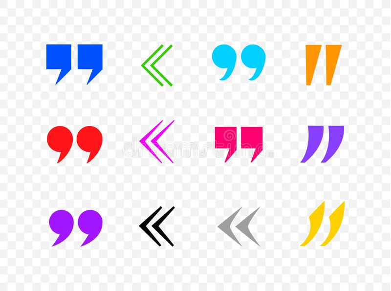 Vector Colorful Quote Marks Collection, Commas, Black Icons Isolated. Vector Colorful Quote Marks Collection, Commas, Black Icons Isolated on Tranpsparent stock illustration