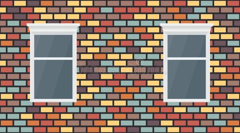 Vector colorful red blue brown yellow violet dark brick wall background. Old texture urban masonry and window. Vintage vector illustration