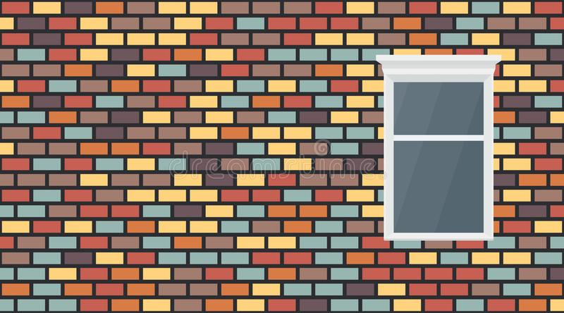 Vector colorful red blue brown yellow violet dark brick wall background. Old texture urban masonry and window. Vintage royalty free illustration