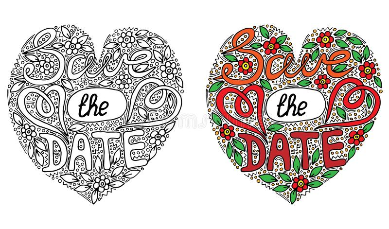 Vector colorful Save the date words with flover and leaf for coloring book. Hand written wedding custom calligraphy isolated on black. Elegant ornate lettering vector illustration