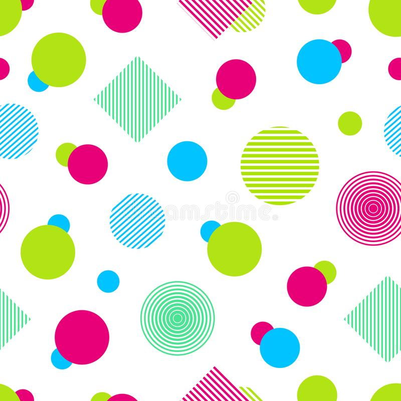 Vector colorful seamless pattern. Abstract background in bright colors. Colored geometric shapes. Simple modern repeated texture. stock illustration