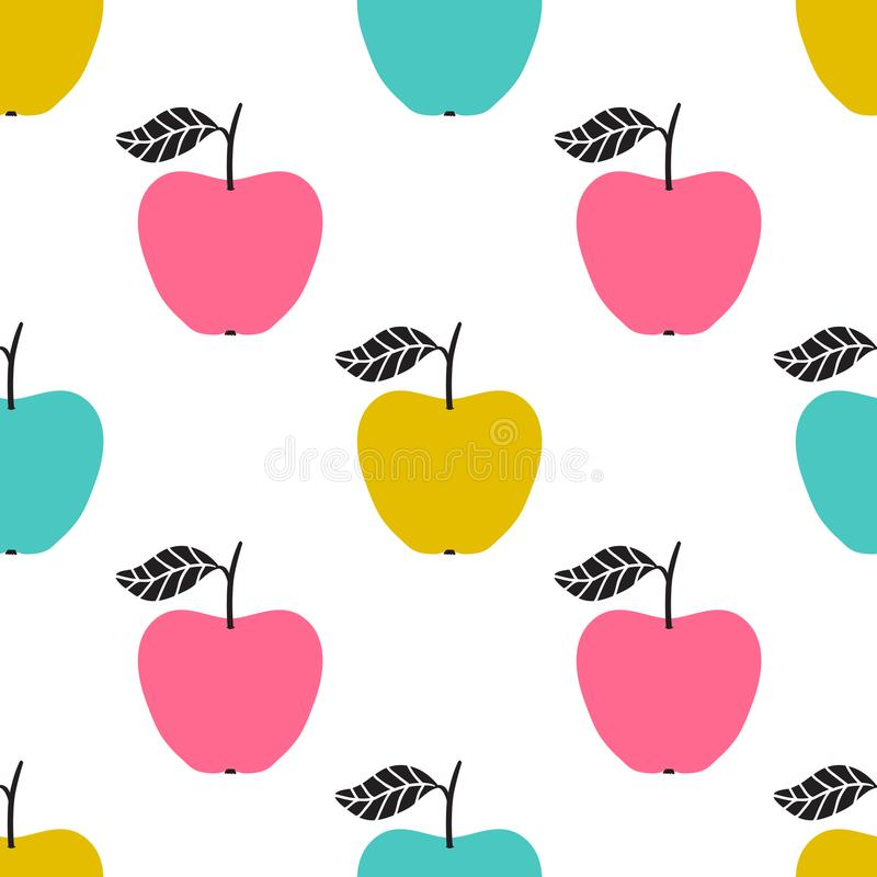 Vector seamless pattern with apples. Scandinavian design royalty free illustration