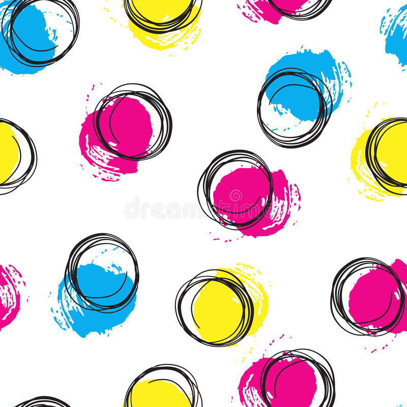 Vector colorful seamless pattern with brush blots and circle. Pink blue yellow black color on white background. Hand stock illustration