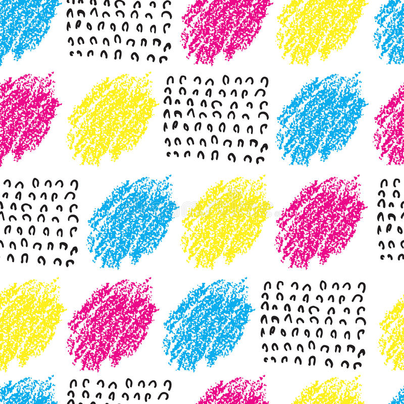 Vector colorful seamless pattern with brush blots and wave. Pink blue yellow black color on white background. Hand royalty free illustration