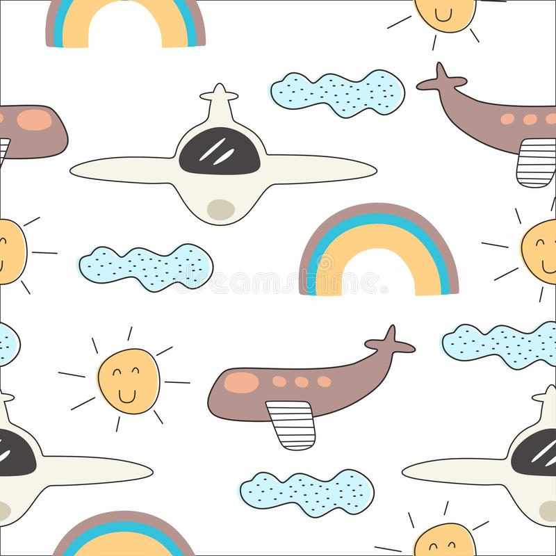 Vector colorful seamless pattern for kids with airplane drawing. Ideal for cards, invitations, baby shower, party, kindergarten,. Children nursery room vector illustration
