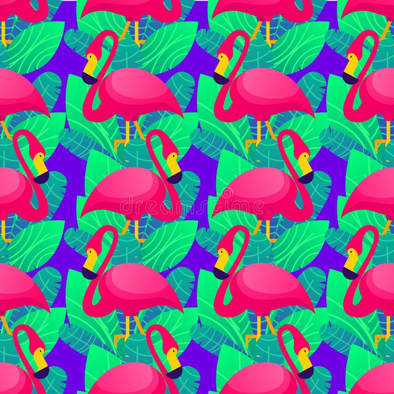 Vector colorful seamless pattern with pink flamingo and green tropical leaves over purple background. royalty free illustration