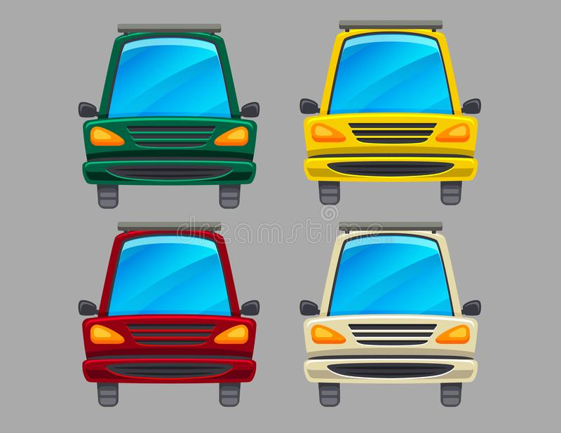 Vector colorful set of four different colors cars isolated from background. royalty free illustration