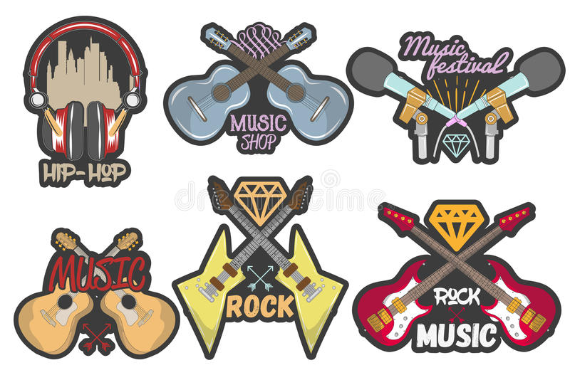 Vector colorful set of music theme emblems. Isolated badges, logos, banners or stickers with guitars, microphones and royalty free illustration