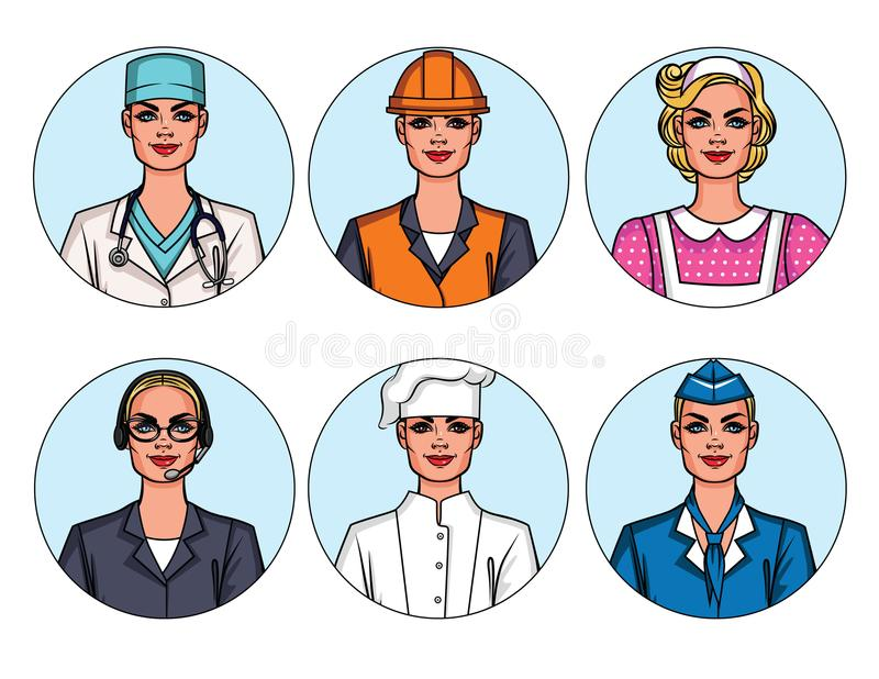 Vector colorful set of women`s professions isolated from background. Icon collection with beautiful girls doing different job. Group of avatars of women stock illustration