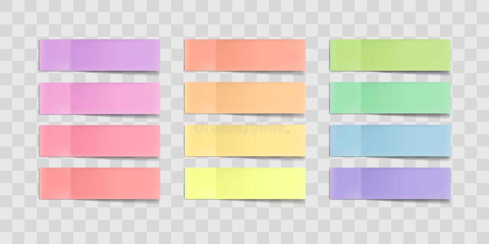 Vector colorful sticky notes, stickers with shadows isolated on a transparent background. Multicolor paper adhesive tape. Vector colorful sticky notes, post stock illustration