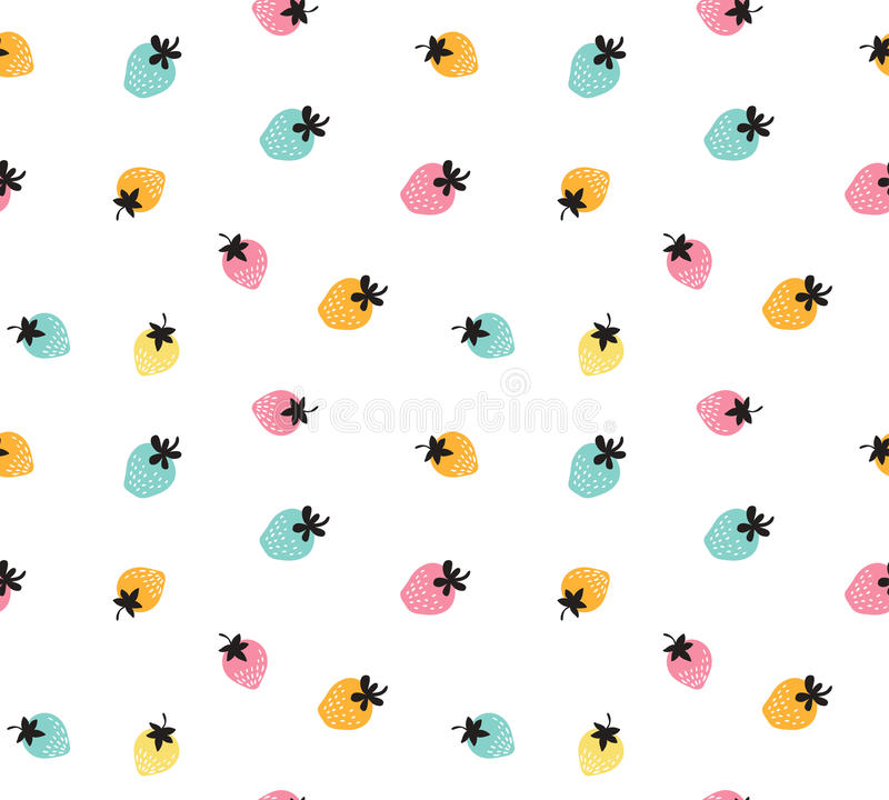 Free Vector Colorful Strawberry Background. Seamless Pattern Of Hand Drawn Strawberries. Royalty Free Stock Photo - 74096555