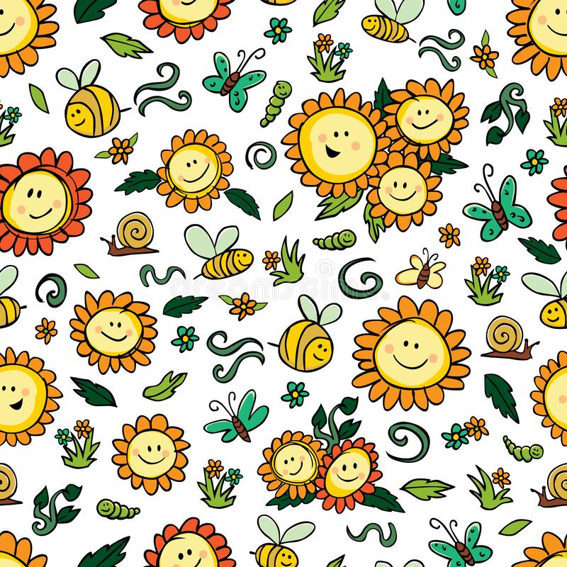 Vector colorful sunflowers and bees repeat pattern with white background. Suitable for gift wrap, textile and wallpaper vector illustration