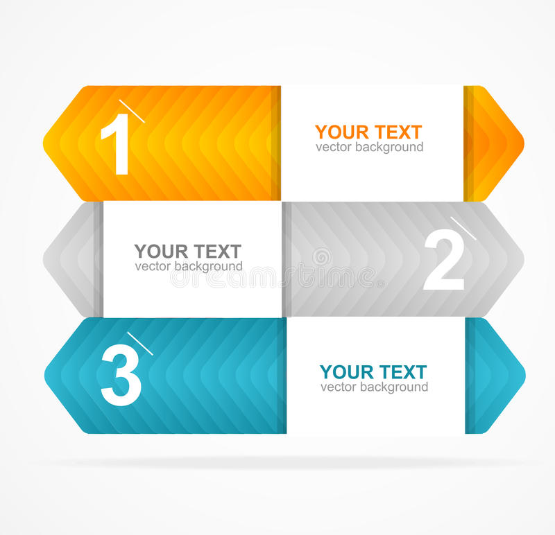 Vector colorful text box 1,2,3 concept stock illustration