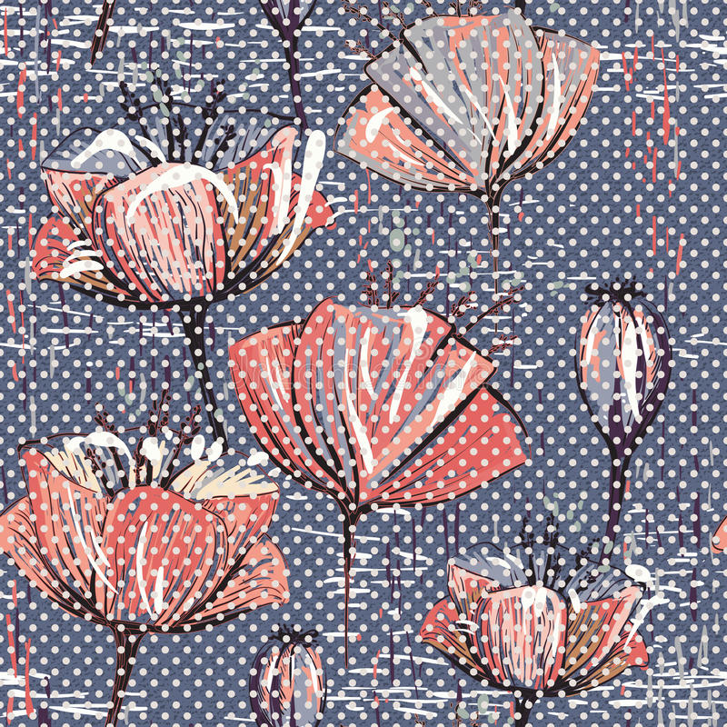 Vector colorful tulips pattern. Seamless can be used for wallpapers, fills, web page backgrounds, surface textures stock illustration