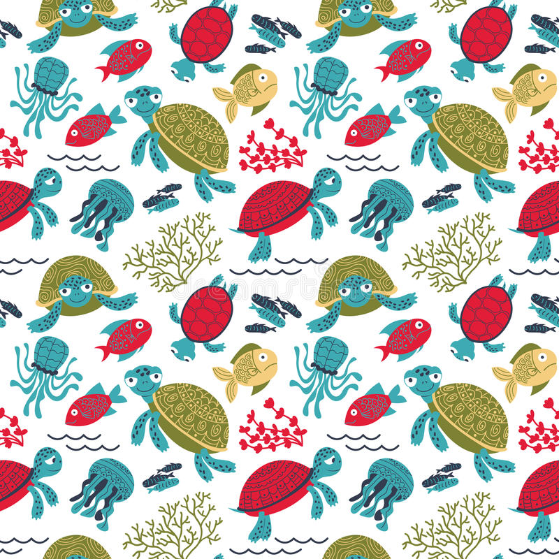 Vector colorful turtles underwater with fish seamless pattern royalty free illustration