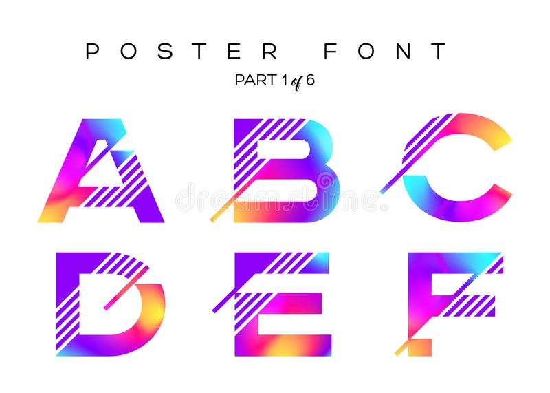 Vector Colorful Typeset. Blue, Pink, Purple Neon Colors. vector illustration