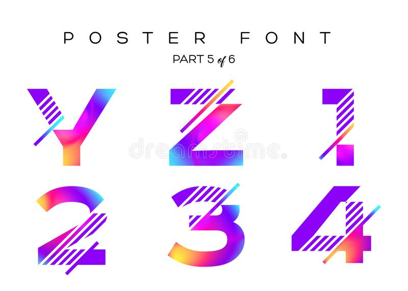 Vector Colorful Typeset. Blue, Pink, Purple Neon Colors. royalty free illustration