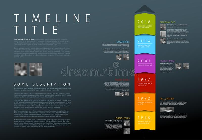 Vector colorful vertical Infographic timeline report template. Dark vertical Infographic timeline report template with texts and photos royalty free illustration