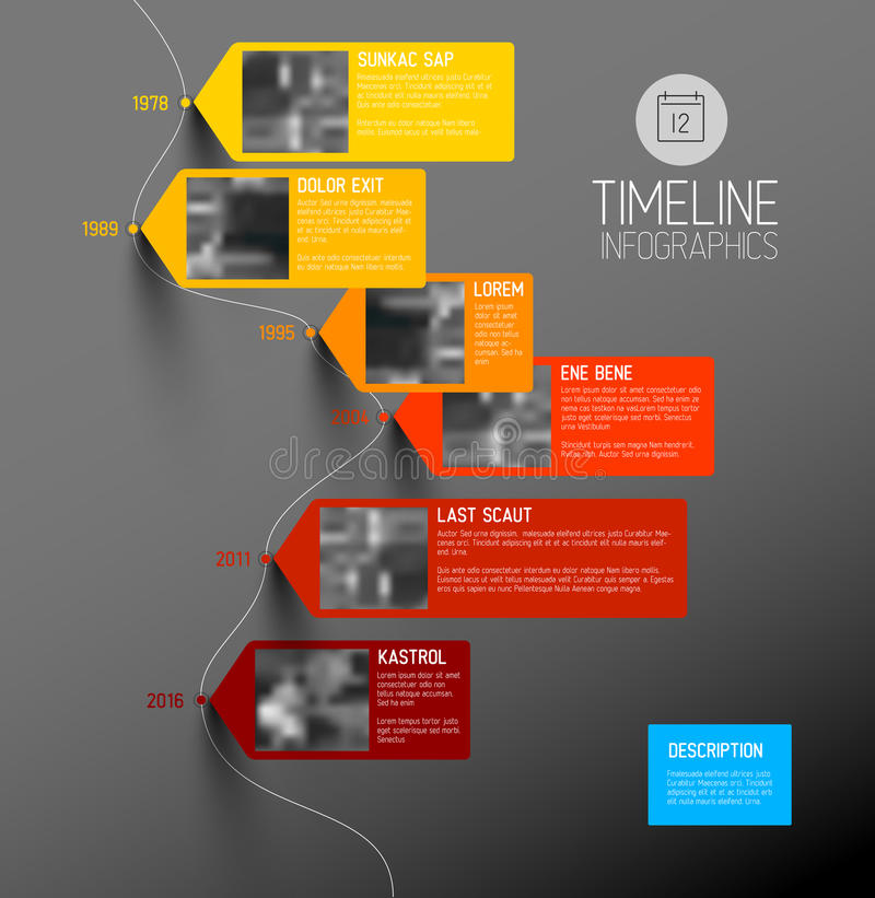 Vector colorful vertical timeline infographic stock illustration