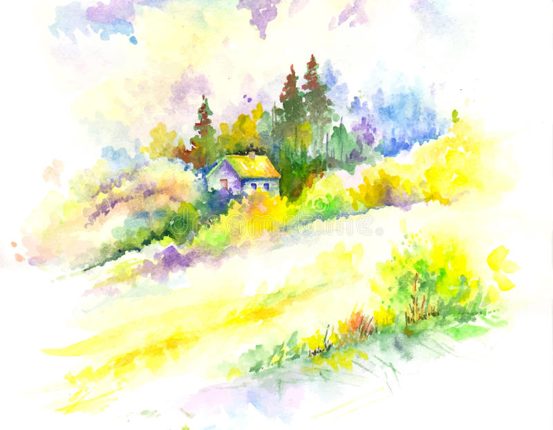 Vector colorful watercolor colorful forest landscape. Vector colorful watercolor forest landscape vector illustration